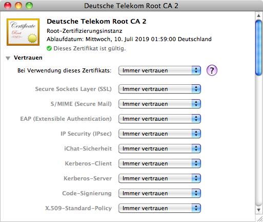 Import von CA-Zertifikaten unter MacOS X [RZ-Dokumentationen]
